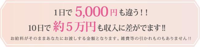 1日で5,000円も違う!!10日で約5万円も収入に差がでます!お給料がそのままあなたにお渡しする金額となります。雑費等の引かれものもありません!